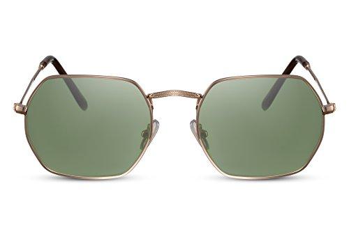 Cheapass Gafas de Sol Hexagonales Doradas Verdes Retro Metálicas UV400 Hombre Mujer