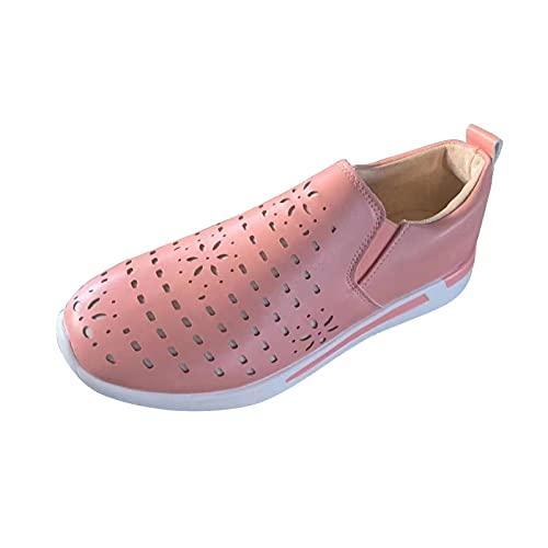 QIUTIANQ Calzado Casual para Mujer Zapatillas Deportivas Transpirables para Exteriores Mocasines Cómodos con Plataforma Y Tacón De Cuña Zapatos Sin Cordones con Punta Redonda (Rosa, 36)