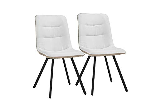 """Upholstered 2 Piece Linen Dining Chairs, 19"""" W inches (White)"""