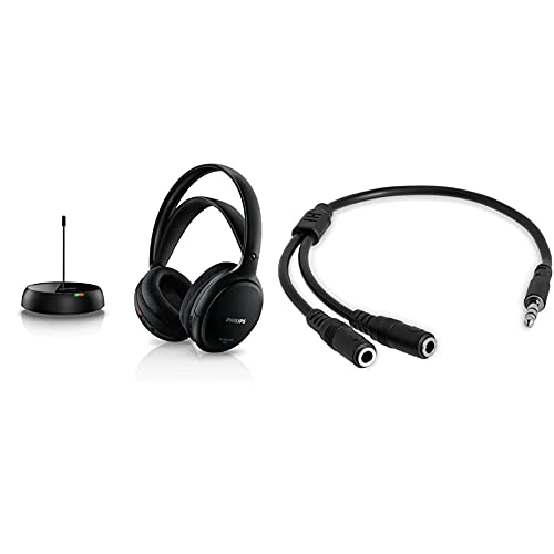 Philips Shc5200/10 Auriculares TV Inalámbricos, Supraaurales HiFi Negro + Startech.Com Startech Muy1Mffs - Cable Adaptador Estéreo (2 X 3.5 Mm), Negro