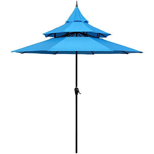 ABBLE Outdoor Patio Umbrella 9 Ft Pagoda with Crank, Weather Resistant, UV Protection, Water Repellent, Durable, 8 Sturdy Steel Ribs, 3 Tier Vented Market Outdoor Table Umbrella,Aqua