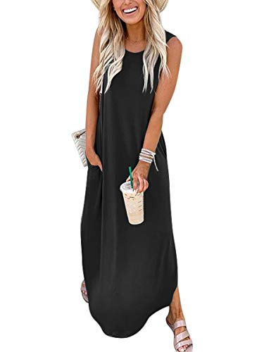 ANRABESS Women's Sleeveless Loose Plain Maxi Dresses Casual Long Dresses for Beach with Pockets A19heise-L