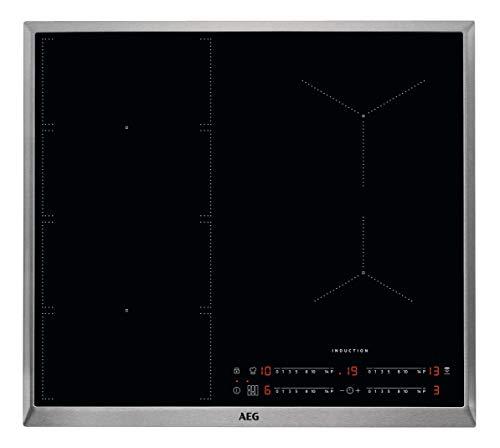 AEG IKE6447AXB Autarkes Kochfeld/Induktion/Hob²Hood/Slider-Bedienung / 60 cm/Edelstahlrahmen / 4 Kochzonen/Flexi-Bridge-Funktion/Powerfunktion/Kindersicherung