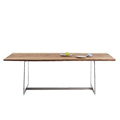 Kare Design Tisch Romana, Esstisch aus Eiche Massivholz, moderner Esszimmertisch mit Baumkante und Stahlgestell