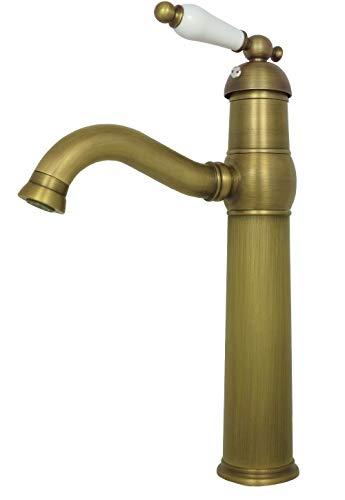 Wasserhahn Bad Retro Waschschale Waschbecken Waschtischarmatur Armatur Einhebelmischer Hochdruck Badarmatur Antik Braun
