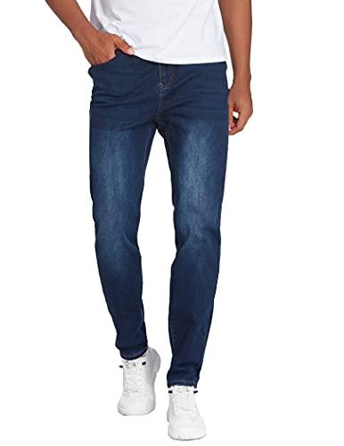 COOFANDY Jeans da uomo, slim fit, elasticizzati, denim, con chiusura lampo, per il tempo libero, blu navy, XXXL