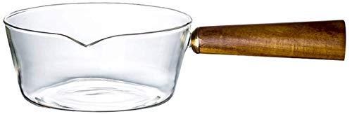 Pot de lait avec poignée en bois, en verre résistant à la chaleur Pan, Petite Casserole, salade de fruits transparent Bol Plats Dip (50 ml), 600ml 8bayfa (Size : 400ml)