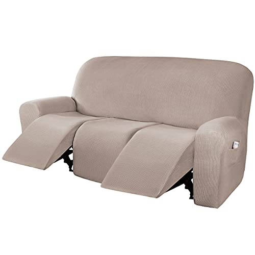 H.VERSAILTEX Super Stretch Recliner Sofa Covers Reclining Couch Covers Recliner Sofa Slipcovers 3 Seater Furniture Covers Thick Soft Jacquard Fabric Form Fitting and Easy Put On, Sand