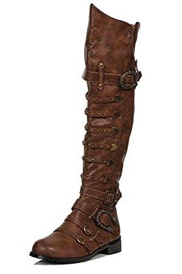 Ellie Shoes Men's 158-Wilbur Steampunk Costume Boots - Combat Shoes, Brown Patent, L from