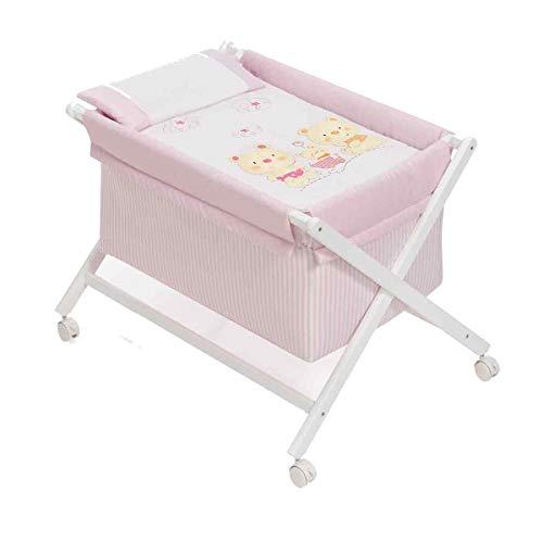 Interbaby Petit berceau en bois + textile à roulettes Motif ours blanc/rose