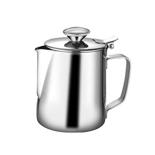 DIYARTS Latte Schiuma Brocca Pot di Grande capacità in Acciaio Inox caffè Latte Frullatore Pitcher Creamer Schiuma Tazza con Coperchio (350ML)