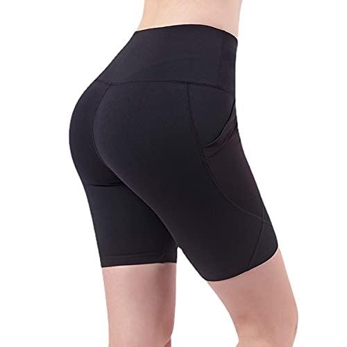 Pantalones de Cinco Puntos para Yoga de Abdomen de Cintura Alta para Mujer, Pantalones Cortos para Correr elásticos de Secado rápido y Ajustados de Verano para Mujer XX-Large