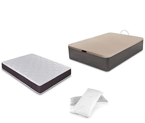 Dormidán - Pack de canapé abatible de Gran Capacidad + colchón viscoelástico + Almohada visco Copos de Regalo (135_x_190_cm, Ceniza)