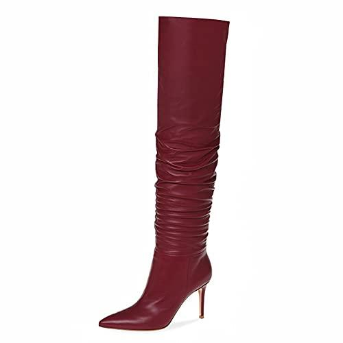 Kozaki do kolan, kozaki na szpilce do kolan, damskie seksowne szpilki w szpic składane wysokie buty, jesienne i zimowe ciepłe buty skórzane (Color : Red, Size : 44 EU)