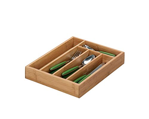 Zeller 25269 Bac à Couverts, Bambou, Brun, 34 x 26 x 5 cm