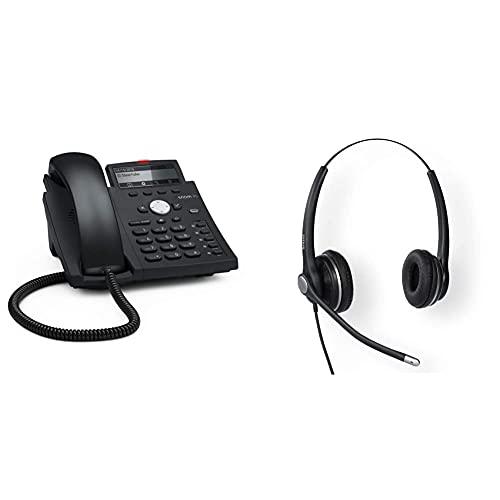 Snom D315 IP Telefon, SIP Tischtelefon (5 konfigurierbare Funktionstasten mit LEDs, 4 SIP-Identitäten), Schwarz & A100D Binaural Headset für alle Snom Desktop-Telefone 3x0 / D3x5 / 7x0 / D7x5