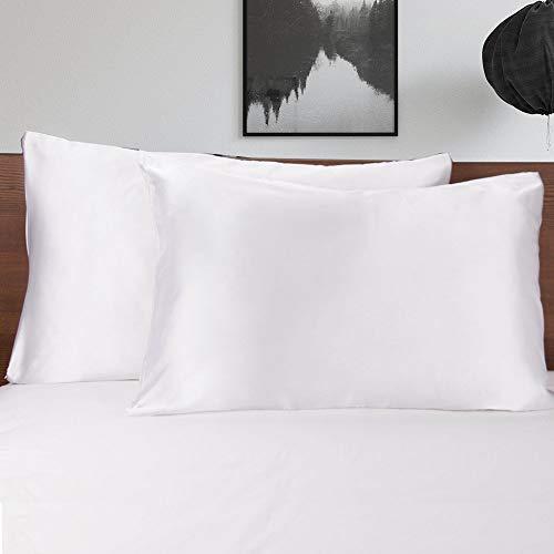 Mommsilk Pack de 2 Fundas de Almohada de Satén con Cremallera Invisible, 40x60cm, Color Blanco