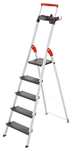 Hailo L100 TopLine, Alu-Sicherheits-Stehleiter, mit Multifunktions-Schale, ausziehbarer Sicherheits-Haltebügel, 5 Stufen, Plattformverriegelung und XXL Stufen, schwarz, Made in Germany, 8050-507