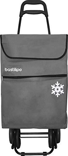 Bastilipo Julia Gris Carro de la Compra 4 Ruedas Plegables oceano-Bastilipo-50 litros de Capacidad con Bolsa termica y Bolsillo Interior, 50 litros
