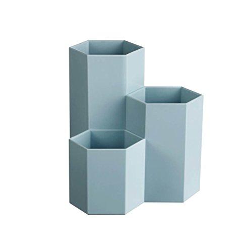TOYMYTOY Portapenne da scrivania ufficio in plastica 3 Bicchieri Portapenne Portaspazzolini Portamatite e Pennelli in Blu