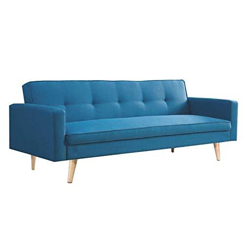 Canapé droit 3 places Bleu Tissu Design Confort
