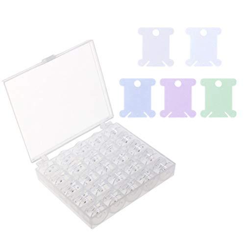 SUPVOX Caja con 25 canillas vacías para máquina de coser y 126 piezas plástico seda del bordado del arte bobinas de hilo(como se muestra)