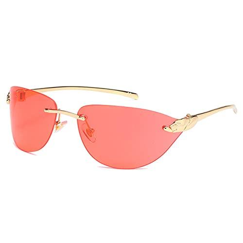 WJJ Gafas De Sol De Moda para Mujer, Gafas De Sol De Metal Sin Marco Gafas De Sol De Color Degradado UV400 con Marco De Metal para Fiestas De Ocio En La Playa,Rojo