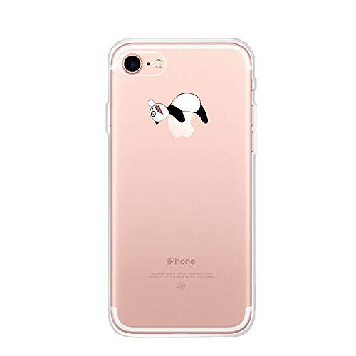 CrazyLemon Funda para iPhone 6 Plus / 6S Plus Fundas para teléfono, Funda Protectora para teléfono móvil Funda Protectora de Silicona Transparente TPU Bumper Case - Panda durmiendo