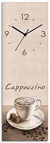 Artland Wanduhr ohne Tickgeräusche aus Glas Quarzuhr 20x60 cm Rechteckig Lautlos Kaffee Coffee Italia Cafe Cappuccino Italien T3AD
