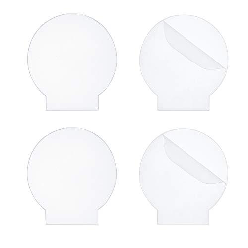 CREATCABIN 4 Pezzi Foglio Acrilico Plexiglass Colato Trasparente Pannello Rotondo Pannello di Vetro Plastica Spessa 4mm per Base Luce LED, Segni, Progetti di Visualizzazione Fai da Te, Mestiere
