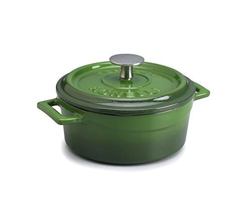 Pentole Agnelli COGHSRP10410G Línea de cacerolas de cocción Lenta de Hierro Fundido, 10 cm, 0.35 l, Verde