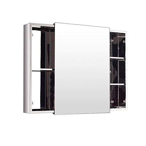 Mehrzweck Badezimmer Wandspiegelschrank, Küchenschrank Hängend aus Edelstahl mit Schiebetür, Bademöbel,800x500x130mm