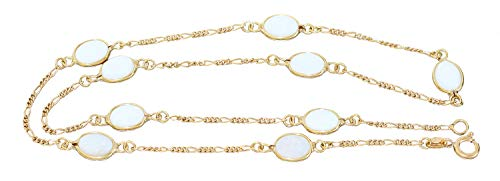 Hobra-Gold opaal ketting goud 750 melopaal Figaro Collier 18 K halsketting opaal 46 cm karabijnhaak