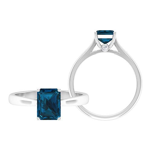 1.75 CT London Blue Topaz Solitaire Ring with Moissanite, December Birthstone Ring (AAA Quality), 14K White Gold, Size:UK W
