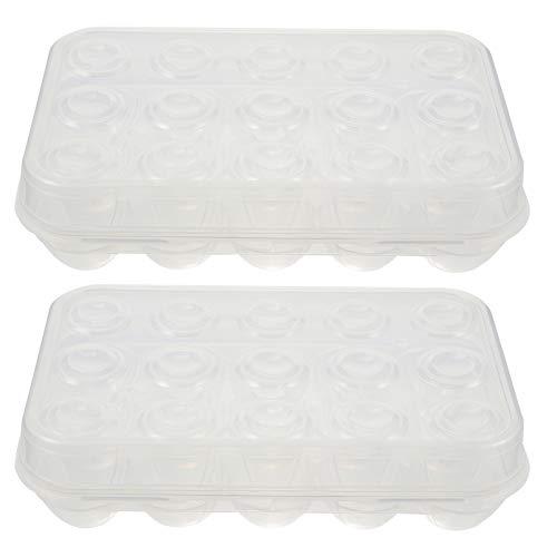 SOLUSTRE 2 Uds Contenedores de Almacenamiento de Huevos de Nevera Soporte de Plástico para Huevos de Cocina Bandeja de Huevos de Cocina Contenedor de Almacenamiento de Refrigerador para