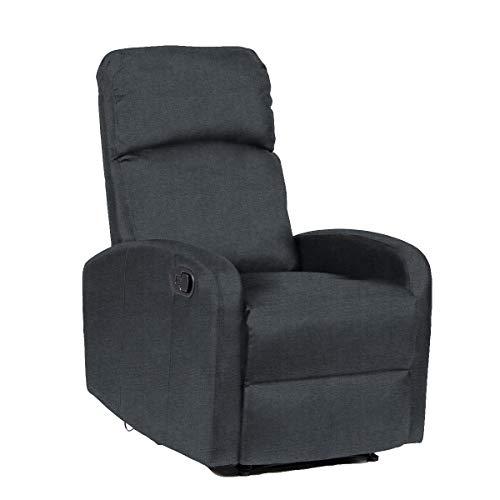 SVITA LEX Relaxsessel Fernsehsessel Ruhesessel mit Verstellbarer Beinablage und Liege-Funktion – Polyester Farbwahl (Dunkelgrau/Anthrazit)