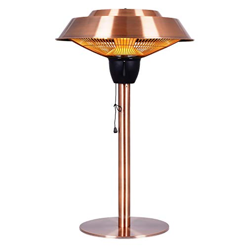 Star Patio Electric Patio Heater, Outdoor Heater, 1500W Infrared Heater with Brush Copper Finished, Tip-Over Protection, Electric Tabletop Heater, IP44 Waterproof, STP1566-CT-B