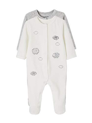VERTBAUDET Lot de 2 pyjamas bébé en velours ouverture devant Lot ivoire 12M - 74CM