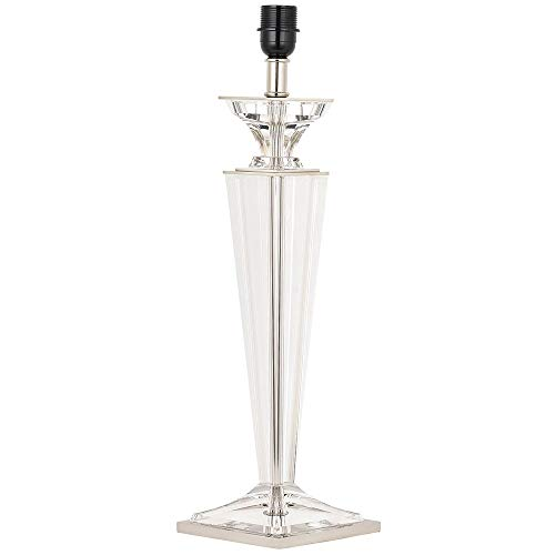 Luxury Elegant 1800's Style Table Lamp – Clear Crystal Glass & Polished Nickel Base ONLY – Premium Contemporary Art Deco Design Sideboard/Console Desk Table Light Bulb Holder – LED – 565mm Tall