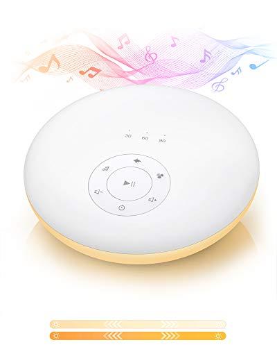 TECHVILLA Einschlafhilfe für Baby und Erwachsene Tragbar mit 24 Beruhigenden Naturgeräuschen, Nachtlicht baby, Einschlafhilfe, Timer, Speicherfunktion White Noise Machine für Reisen, Baby Geschenk