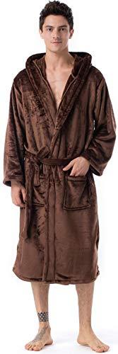 BTPEIHTD Herren und Damen Fleece-Bademantel, weicher Plüsch, Langer Kimono-Morgenmantel für Unisex Erwachsene, Warmer Hausmantel - - Medium