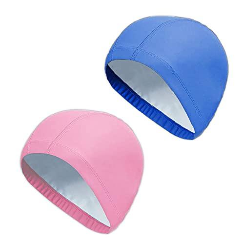 2Pcs Unisex Gorro de Natación Gorro de Baño Piscina Mujer y Hombre Gorro Natación para Pelo Largo y Corto Gorros de Piscina Impermeable Suave y Cómodo, Talla Unica (Rosa + Azul Real)