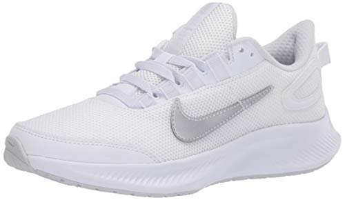 NIKE Runallday 2, Running Shoe Womens, White Metallic Silver Pure Platinum, 38 EU