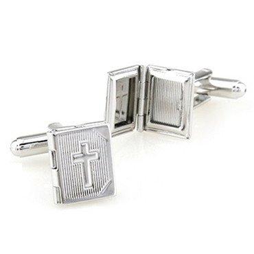 Fashion Frame inoxydable Steel Cross photo élégant Cuff Link manchette en boîte-cadeau