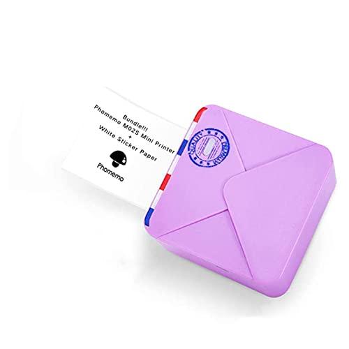 ASPZQ Phomemo M02S Impresora Bolsillo Mini Impresora Térmica Bluetooth Compatible con iOS + Android para Ayuda para Aprendizaje, Notas Estudio, Diario, Diversión, Trabajo (Color : Purple)