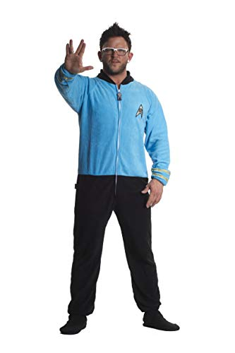 Jumpin Jammerz Star Trek Science Blue Footed Onesie Adult Pajamas (Large)