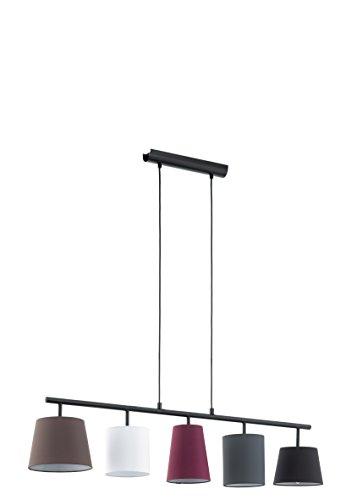 Eglo - Lampada a sospensione in acciaio, E14, Multicolore, 105 x 20 x 110 cm, glühlampe, acciaio;tessile, nero