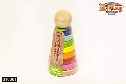 Van Manen 2Play Jeu de douilles en bois avec anneaux, Multicolores en forme de pyramide en bois, enfant, Multicolore, 610061 - Version Allemande