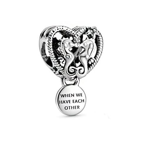 ZHANGCHEN 925 Sterling Silver ażurowy urok konik morski serce Charms Charms nadające się do oryginalnych bransoletek Pandora DIY biżuteria damska