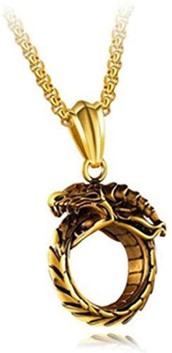 Colgantes de Serpiente Cobra Cadena Cruzada Redonda Corto Largo Hombres Mujeres Oro Plata Color Negro Collar Joyería Regalos-Gold_Color